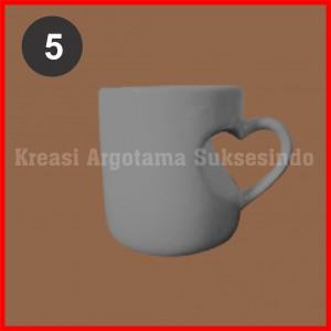5 mug polos putih